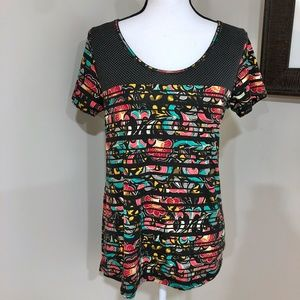 *LULAROE* Black x Colorful Short Sleeve Shirt XS